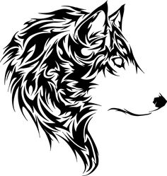 tribal animal tattoo | Tete de loup tribal