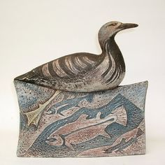 Black-Throated Diver stoneware Height 24cm £360 Ceramic Fish, Ceramic Birds, Ceramic Animals, Ceramic Art, Pottery Animals, Clay Animals, Pottery Painting, Ceramic Painting, Pottery Art