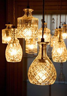 Old decantars as light fixtures
