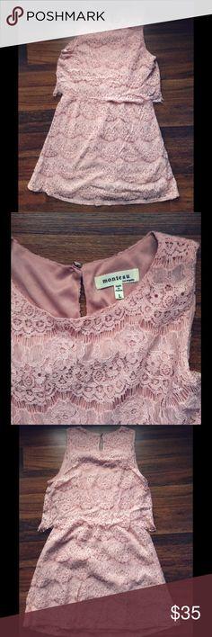 pink lace sleeveless layered size L/10 dress pink lace sleeveless layered dress. mid-thigh length. size L. monteau brand. Monteau Dresses Mini