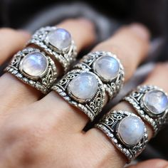 Victoriana Moonstone Boho Sterling Silver Ring