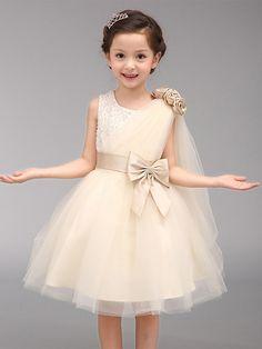 A-line Knee-length Flower Girl Dress - Cotton / Organza Sleeveless Jewel with - USD $39.99