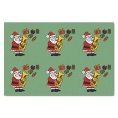 Santa Playing Tuba Christmas Tissue Paper #Christmas #SantaClaus #tissuepaper #tuba #funny #music And www.zazzle.com/tickleyourfunnybone*