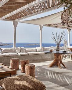 Boheme Mykonos is a luxury boutique hotel with designer suites, a hip restaurant, bar & pool. Boheme Mykonos Hotel is located outside Mykonos Town in Greece. Mykonos Hotels, Mykonos Town, Mykonos Greece, Restaurant Patio, Restaurant Design, Mykonos Restaurant, Hotel Boheme, Exterior Design, Interior And Exterior