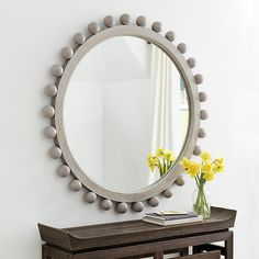 Find the stylish Lindy Round Wall Mirror at Ballard Designs to update the look of your living and dressing rooms. Buy glamour and design with our Lindy Round Wall Mirror for the new look you will love! Entryway Mirror, Mirror Wall Art, Round Wall Mirror, Diy Mirror, Round Mirrors, Foyer, Mirror Ideas, Wood Mirror, Nursery Mirror