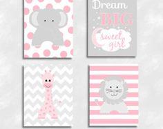 Baby Girl Nursery Wall Art Pink Gray Nursery Artwork by TRMdesign Nursery Canvas, Nursery Artwork, Baby Nursery Decor, Nursery Prints, Girl Nursery, Elephant Design, Pink Elephant, Pink And Gray Nursery, Pink Grey