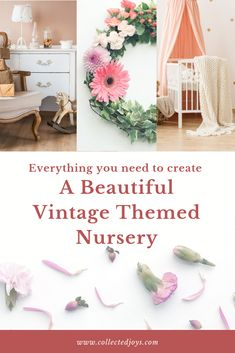 A vintage baby nursery is such a beautiful baby nursery theme. There are so many special touches such as a metal crib, vintage dressers, chandeliers, and rugs that great such a gorgeous vintage baby nursery. Vintage Nursery Decor, Floral Nursery, Baby Nursery Themes, Vintage Dressers, Vintage Iron, Vintage Walls, Decorative Items, Wall Decor, Explore