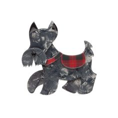 "Wallace - Grey Colourway - ""Sure I can be a little stubborn but I'm definitely no Scottie. As a matter of fact I've got plenty of friends. Dog Jewelry, Animal Jewelry, Jewelry Art, Jewellery, Quirky Gifts, Scottish Tartans, Scottie, Stars And Moon, Vintage Accessories"