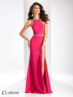 Clarisse Prom 3046 Cerise Open Back Prom Dress