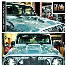 TOTL Innovations Hood -------------------- #trailjeeps #offroad #fourwheeling #4x4 #jku #rockcrawling #jeep #itsajeepthing #myjeepbuild  ------------------- Available at www.trailjeeps.com