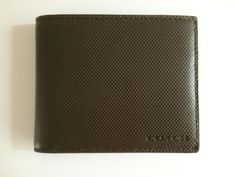 NWT COACH MENS BLEECKER EMBOSSED TEXTURED LEATHER SLIM BILLFOLD F74462 OLIVE