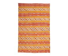 "Vintage Embroidered Anatolian Kilim in Orange + Red Stripes 5'1"" x 8' 