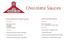 Chocolate Sauces - Machine Shed www.machineshed.com