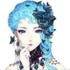 31 Ideas For Hair Blue Anime Kawaii Manga Girl, Manga Anime, Anime Girls, Kawaii Anime, Blue Anime, Pretty Anime Girl, Anime Kunst, Pretty Art, Anime Style