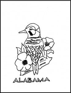 State of Alabama Bird and Flower