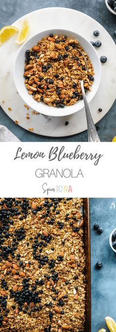 This Lemon Blueberry Granola is a healthy breakfast or snack, made with wholesome ingredients! It's made with coconut oil, maple syrup, honey, and ground flaxseed, as well as lemon zest and dried blueberries. The lemon blueberry combination will forever be one of my favorites, and it's absolutely amazing in this granola. It's great served sprinkled over greek yogurt, on smoothies, or just as a snack! #lemon #blueberry #granola #healthy #breakfast