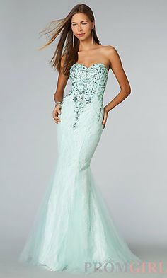 Floor Length Strapless Sweetheart Mermaid Dress at PromGirl.com