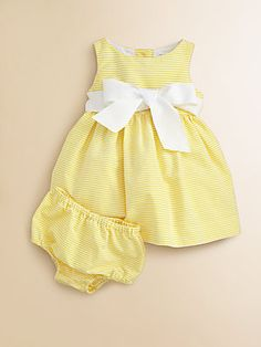 Ralph Lauren Layette's Striped Pincord Dress & Bloomers Set