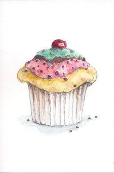 "cupcake // Encontrado en etsy.com Set of 3 ORIGINAL watercolors: cupcakes - 3,9"" x 5,9"" - FREE SHIPPING"