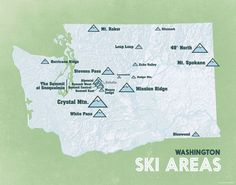 33 Best Ski Areas images in 2017 | Ski, Skiing, Maps posters Skiing Washington State Map on