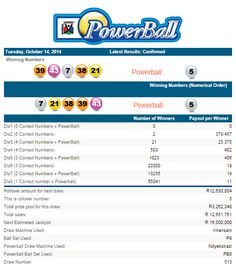Latest #PowerballResults South Africa | 14 October 2014