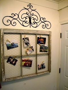 Old window frame turned picture with some chicken wire and clothes pins!!  (i love rustic things) by lolita