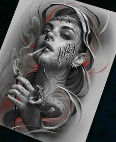 stunning eye-catching tattoo sketches design ideas - lion's tattoo world - # stunning # stri Sketch Tattoo Design, Sketch Design, Tattoo Sketches, Tattoo Drawings, Tattoo Designs, Tattoo Art, Girl Face Tattoo, Tattoo Girls, Girl Tattoos
