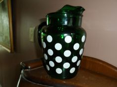 ANCHOR HOCKING WHITE DOTS ON FOREST GREEN 9 INCH  PITCHER DEPRESSION ERA $37.00