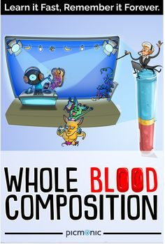 Learn the characteristics of whole blood composition with this picmonic quickly in just 3 minutes! Fundamentals Of Nursing, Composition, Blood, Learning, Nursing Fundamentals, Musical Composition, Writing, Education, Teaching