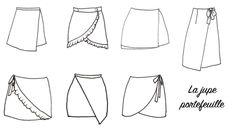 Retrouvez sur le blog la liste des patrons pour coudre une jupe portefeuille