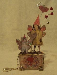 Altered Art Fairy Block Cat Valentine Vtg Original Folk OOAK Mixed Media Collage