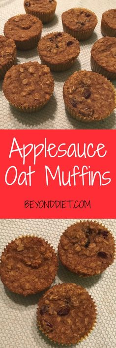 Applesauce Oat Muffins | Oats + applesauce + dried cranberries = delicious gluten-free muffins! Healthy Breakfast Muffins, Oat Muffins, Gluten Free Muffins, Gluten Free Cookies, Healthy Homemade Snacks, Healthy Food, Beyond Diet Recipes, Cookie Brownie Bars, Dessert Recipes