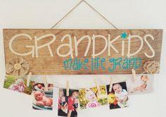 GRANDKIDS MAKE LIFE Grand,Photo,Grandkids sign,Grandchildren,Grandparents,Grandma, Grandpa,Gift,Mothers Day,Present,Sign,decor