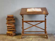 Brooklyn Wooden Vintage Drafting Table by jerseyicecreamco on Etsy, $275.00
