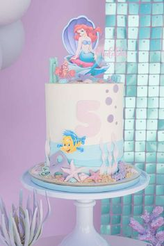 Take a look at this gorgeous Little Mermaid birthday party! The birthday cake is amazing! See more party ideas and share yours at CatchMyParty.com Little Mermaid Birthday Cake, The Little Mermaid, Girl Birthday, Bridal Shower Cakes, Baby Shower Cakes, Sea Cakes, Mermaid Cakes, Mermaid Parties, Under The Sea Party