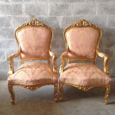 Antique Louis XVI 5 Piece Living Room Chair Fauteuil Settee Sofa Couch Gold Leaf Reupholster Light Pink Rose Damask Floral Rococo Baroque by SittinPrettyByMyleen on Etsy