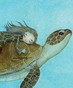 Turtle Girl illustration - by Emila Yusof Painting & Drawing, Watercolor Paintings, Save The Sea Turtles, Pix Art, Tortoise Turtle, Turtle Love, Illustration Art, Illustrations, Whimsical Art