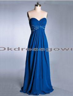 royal blue long sweetheart cheap chiffon prom dress, prom dress under 150