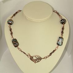 Antiqued Copper Front Fastening Rope Chain Necklace With Foiled Glass Beads