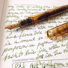Feeling mellow with this cognac Pelikan and Alt-Goldgrun ink. #pelikanpen #inkdex #fountainpens #rohrerandklingner #journal #inkjournal #handwriting