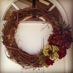 Fall wreath.  Grapevine.  Flowers.  Dried hydrangea.
