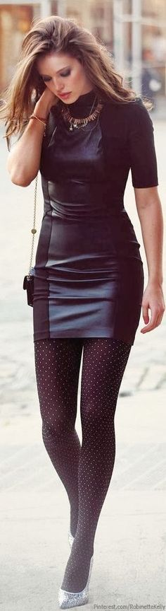 Sparkling Pumps,Dotted Tights and Leather Dress