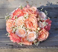 Peach Rose Wedding Bouquet Silk Flower Bouquet made with