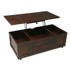 The Santa Fe trunk accent tables solve the mystery of where to store those magazines or extra blankets. Spacious inside and room on top these tables are beautiful and functional featuring a rustic design in a warm, chocolate finish. The cocktail table features a lift-top tray with storage underne...