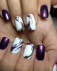 30 graduation nails designs to feel like a queen 50 beautiful floral nail designs for spring - Page 13 of 50 - Nail Art Design - Purple Nail Art, Purple Nail Designs, Elegant Nail Designs, Diy Nail Designs, Purple Gold, Coral Art, Elegant Nails, Pastel Nails, Pink Black
