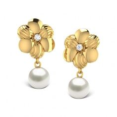 A contemporary set with delicate patterns cared in gold; the Brushed Floral Earrings are elegant and modern for day to day wear. The simple dangling pearl lends a breezy feel while you out on a hot summer.