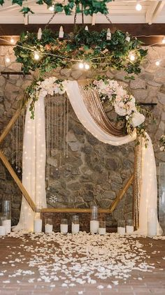 Southern Home Decor Hexagon wedding arch with neutral flower geometric wedding ideas.Southern Home Decor Hexagon wedding arch with neutral flower geometric wedding ideas Indoor Wedding Ceremonies, Wedding Altars, Wedding Ceremony Decorations, Decor Wedding, Wedding Scene, Wedding Church, Table Wedding, Party Wedding, Wedding Bride