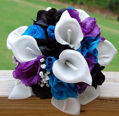 Reserved listing 3PC Wedding Bridesmaid Bouquet White,Blue,Regency Purple,Black