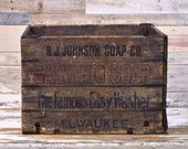 Antique Wood Folding Crate, Hubbard's Wire Sewed Folding Box, B.J. Johnson Soap Co. Milwaukee Wisconsin