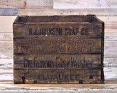 Antique Wood Folding Crate, Hubbard's Wire Sewed Folding Box, B.J. Johnson Soap Co. Milwaukee Wisconsin